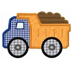 Dump truck applique machine embroidery design by FunStitch on Etsy, $4.00