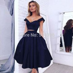 Lovely Tea Length Navy Blue 2 Pieces V neck Prom Dresses 2016 A line Satin Party Formal Gowns robe de cocktail Dresses