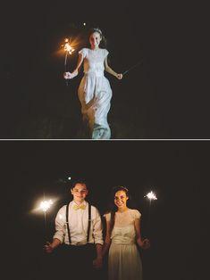 Sparkler grand exit, DIY woodland Wedding. Los Angeles wedding photography.