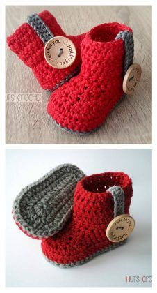 Crochet Baby Shoes Crochet Huts Amore Baby Boots Free Pattern - Do you want to surprise your little one with a cute pair of crochet baby booties? Here is an awesome Crochet Baby Bootie Free Pattern for you. Crochet Boots, Crochet Slippers, Crochet Baby Boots Pattern, Crocheted Baby Booties, Crochet Baby Socks, Knitted Baby, Baby Knitting Patterns, Baby Patterns, Crochet Patterns