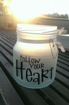 Lyslykt frostet Follow your heart - gjenbruk - syltetøyglass