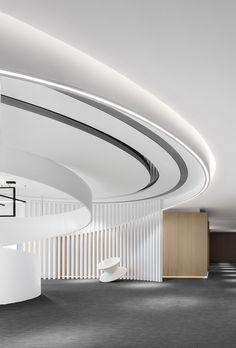 "Architecture and interior design firm CUN Design has recently designed a new office for Poly Future Metropolitan in Beijing, China. ""What CUN DESIGN is Lobby Interior, Office Interior Design, Home Interior, Interior Architecture, Corporate Interiors, Office Interiors, Office Ceiling Design, Best Office, Futuristic Interior"