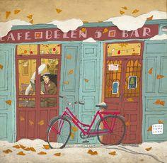 david pintoR. Bicycle - cafe - illustration.