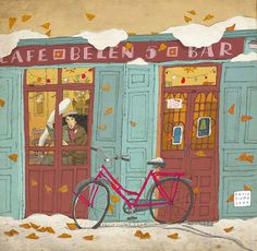 david pintoR. Bicycle - cafe - illustration.