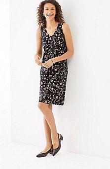pleated V-neck rayon dress