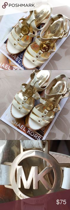 "Michael Kors Sandals Michael Kors cream patent gladiator sandals with gold MK logo plaque . Gently used with minor wear. 6 size. 2"" inches heel. Preppy sandals! Michael Kors Shoes Sandals"