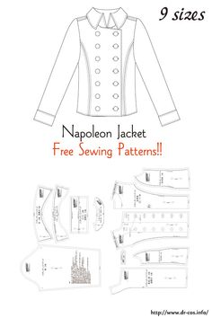 This is the pattern of a Napoleon Jacket. Coat Pattern Sewing, Coat Patterns, Dress Sewing Patterns, Jacket Pattern, Doll Clothes Patterns, Sewing Patterns Free, Free Sewing, Sewing Clothes, Clothing Patterns