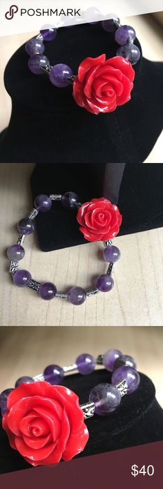 Amethyst bracelet rose Beautiful large red stone rose and amethyst bracelet. It's is stretchy and has small silver dragonfly beads. Jewelry Bracelets