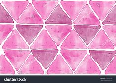 Abstract graphic with pink, purple triangles digital watercolor texture isolated on white background