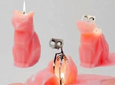 Cat candles that when melting have a skeleton!!!