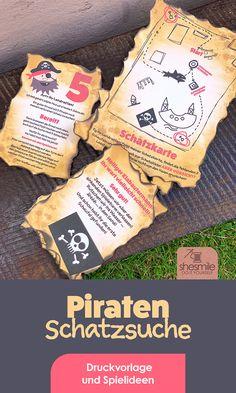 Druckvorlagen und Spielideen für eine Piraten-Schatzsuche gestaltet als PDF-E-Book von shesmile. Dein Piraten-Abenteuer zum Kindergeburtstag lässt sich auf jedem Spielplatz oder im Garten Zuhause spielen. Finde alle Schaufeln und buddel dich zum Schatz!  Du bekommst in diesem E-Book nicht nur eine Vielzahl an farbigen Druckvorlagen sondern außerdem viele Tipps und Tricks zum Basteln deiner Schatzkiste und Textvorlagen zum Schreiben deiner Piraten-Schatzsuche. Printables, Print Templates, Game Ideas, Playground, Pirates, Tips And Tricks, Writing