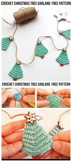 Crochet Christmas Trees, Christmas Tree Garland, Christmas Crochet Patterns, Afghan Crochet Patterns, Rustic Christmas, Christmas Ornament, Cute Crochet, Crochet Yarn, Crochet Cozy