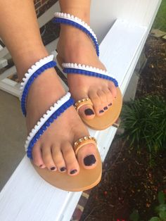 """TINOS"" Inspired by the Greek island with the whites and blues of the Greek Aegean, combined with the comfort of Handmade Greek Leather. Order yours today at our store :http://www.ancientgreciansandals.com/listing/462440349/greek-sandals-womens-sandals-leather"