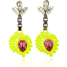 Mawi Neon Flower Drop Earrings With Gemstone ($475) ❤ liked on Polyvore