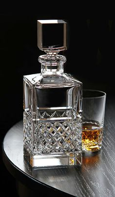 Cashs Crystal Cooper Single Malt Square Decanter http://FineItalianFoodAndWine.com #FineItalianFood&Wine at your holiday Italian villa.