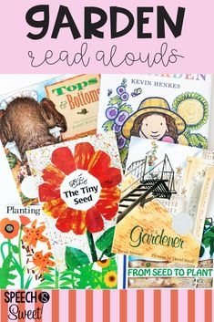 Garden themed read alouds for spring or summer speech therapy! These picture books are also great for the regular education classroom! This blog post discusses how each book can be used to address a variety of language skills such as comprehension, vocabulary, sequencing, and more! #picturebooks #readalouds