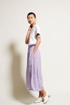 Marios Side Pleated Trousers in Lilac