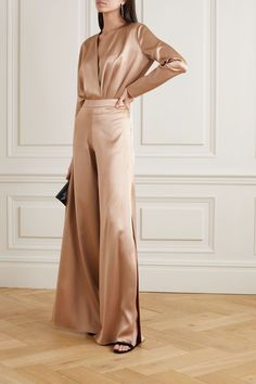 Sand Wrap-effect silk-charmeuse bodysuit Silk Pants Outfit, Trouser Outfits, Classy Outfits, Chic Outfits, Mode Abaya, Silk Charmeuse, Elegant Outfit, Muslim Fashion, Satin Dresses