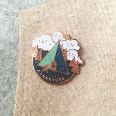 Adventure Gold Hard Enamel Pin by sparrowandwolfshop on Etsy