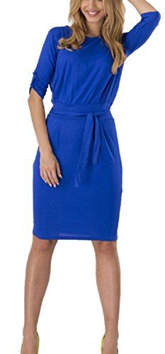 Hoyod Womens Half Sleeve Belt Fitted Slim OL Business Pencil Dresses