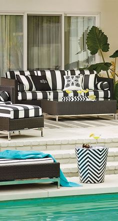 The cool, contemporary look of our Metropolitan Panther Seating Collection is an enduring choice for relaxing outdoors.  | Frontgate: Live Beautifully Outdoors