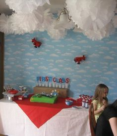 """Photo 1 of 7: Airplane / Birthday """"De Plane! De Plane!"""" Puffy clouds and planes from the ceiling"""