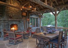 Love this rustic mountain deck...