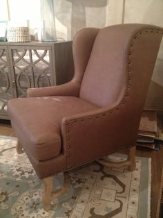"Leather Wing Chair in Putty - 30.5"" W x 35.5"" D x 41.5"" H Upholstered Chairs, Wingback Chair, Armchair, Wing Chair, Accent Chairs, Interior, Leather, Furniture, Home Decor"