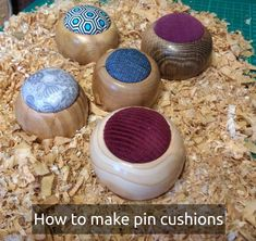 Trying to use up some of the scraps of wood I have, so I made some pin cushions using various woods and recycled padding and material from our extensive collection. Pin Cushions, Wood Working, Dog Bowls, Woods, Recycling, Scrap, Handmade Items, Craft Ideas, Crafty
