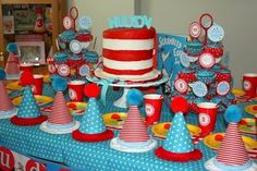 She had a Suess-themed birthday party for her son.  My mind is spinning for Dr. Seuss Day ideas.