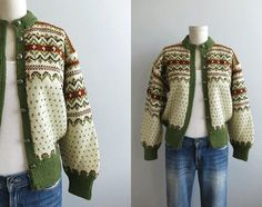 Buying a vintage fair isle sweater is like buying an instant heirloom. They are infinitely warm and knit to last well beyond your lifetime. Green Cardigan, Wool Cardigan, Fair Isle Knitting, Hand Knitting, Norwegian Knitting, Nordic Sweater, Fair Isles, Knit In The Round, Hand Knitted Sweaters