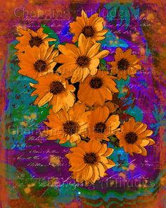 ART WATERCOLOR DAISIES Orange Yellow with by ChangingArtitudes