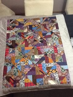 My very first patchwork quilt made from mens ties 2014.