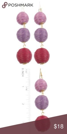 PURPLE & WINE CORD WRAPPED BALL EARRINGS OMBRE PURPLE & WINE EARRINGS.CORD WRAPPED THREE LAYER BALL STYLE.   METAL SETTING FISH HOOK  3 7/8 INCH DROP  NICKEL AND LEAD COMPLIANT Happy Organics Boutique Jewelry Earrings