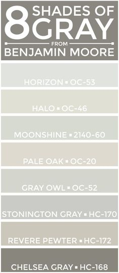 eight great shades of gray from @benjamin_moore -- perfect for a neutral color palette. ~ http://thepolohouse.blogspot.com/