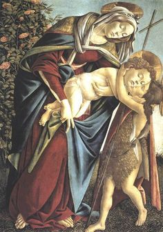 "Botticelli. ""Madonna and Child and the Young St John the Baptist. Tempera su legno 92 x 134 cm"