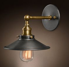 RH's 20th C. Factory Filament Metal Sconce:Evoking early-20th-century industrial lighting, our reproductions of vintage fixtures retain the classic lines and exposed hardware of the originals. Designed to showcase the warmth of Edison-style filament bulbs.