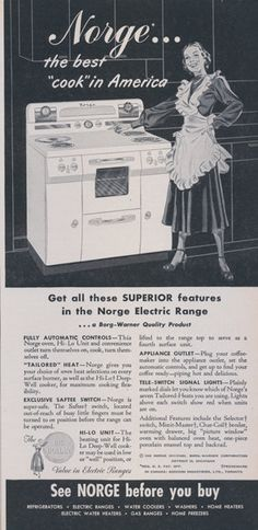 1949 Norge Electric Range Stove Oven Ad Vintage Appliance Advertisement Retro Housewife Illustration Print Retro Kitchen Wall Art Decor