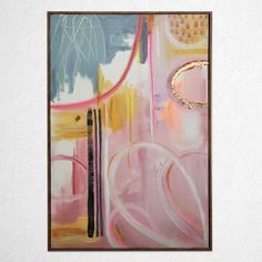 WHERE TO START, 605 x 905 mm Pink Palette, Contemporary Paintings, Gold Foil, Black Stripes, Original Paintings, Abstract Art, Shapes, The Originals, Canvas