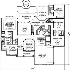 Floor Plans AFLFPW74046 - 1 Story Country Home with 4 Bedrooms, 3 Bathrooms and 2,672 total Square Feet