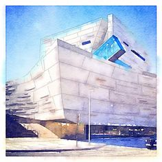 Perot Museum Nature Science Watercolor Dallas Texas Landmark Architecture - Dallas Photoworks - Fresh Photography for the Design and Hospitality Industry.