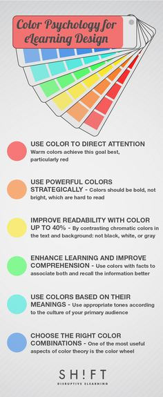 6 Tips To Use Colors When Designing eLearning Courses Infographic - e-Learning Infographics Instructional Technology, Instructional Design, Educational Technology, Learning Theory, Training And Development, Blended Learning, Learning Styles, Color Psychology, Science