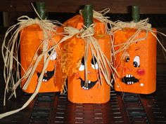 These landscape timber pumpkins would be a great addition to your fall decorations.
