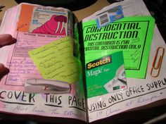 Wreck This Journal - Office Supplies. I like how this turned out. ~Leslie D. Soule