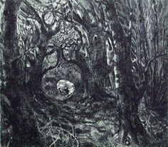 """In the Wood"" by Flora McLachlan (etching)"