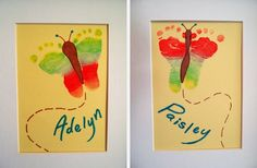 Idea para tus cuadros: Una mariposa del arcoiris con la huella del tu bebé