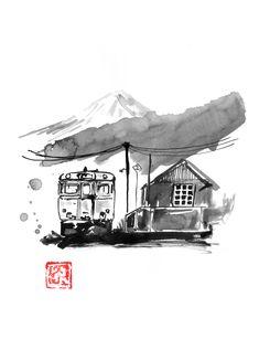 #japan #fuji #sumie Canvas Wall Art, Canvas Prints, Art Prints, Japan Train, Mont Fuji, Sumi E Painting, Galerie D'art En Ligne, Landscape Drawings, Art Drawings