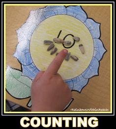 photo of: Spring Math Game using Sunflower seeds for Counting + Numeracy Development Preschool Garden, Preschool Themes, Preschool Lessons, Classroom Activities, Preschool Plans, Preschool Math, Classroom Fun, Counting Activities, Spring Activities