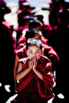 Novice Monks lined up for morning registration at Tawang Monastery, Arunachal Pradesh, NE India