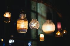 Variety of jars used for DIY wedding lights, simple, inexpensive and so unique.  Wrap some in twine for a point of difference